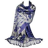 GFM Pashmina Style Scarf in Peacock Feathers Design (FLD)(PCKPASH-P49)