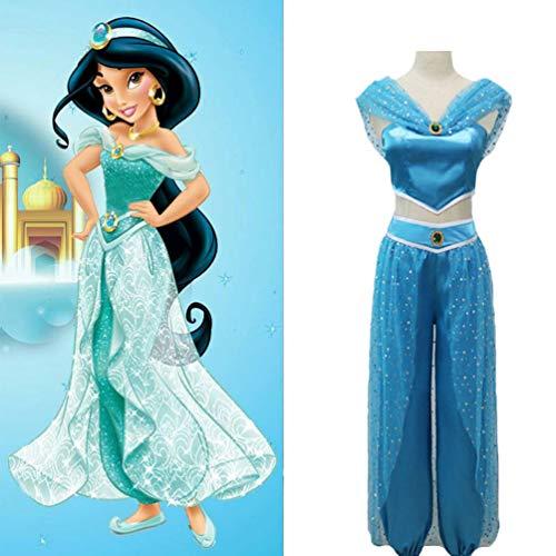 Frauen Jasmin Kostüm - Binwwe Bauchtänzerin Prinzessin Aladdin Jasmin Cosplay Frauen Mädchen Kostüm Set