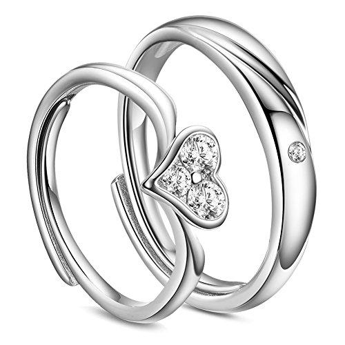 Sweetiee 925 Sterling Silver Liebespaar Paare Ringe,mit Herz AAA Zirkonia,16mm&18mm; 2pcs/set