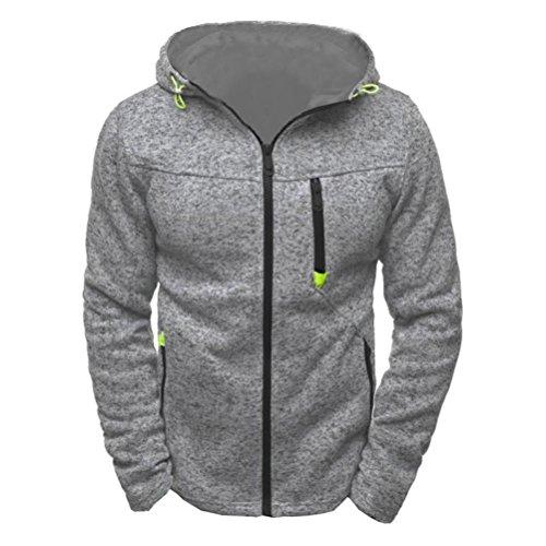 Sannysis Herren Kapuzenpulli Reißverschluss Slim Fit Kapuzenpullover Sweatshirts Pullover Mantel Jacke (L, Grau) (Wolle Breasted Double Kragen)