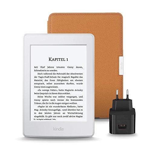 Kindle Paperwhite Essentials Bundle mit Kindle Paperwhite eReader WLAN (Weiß) - mit Spezialangeboten, Amazon Lederhülle (Hellbraun) und Amazon Powerfast 9W Ladegerät