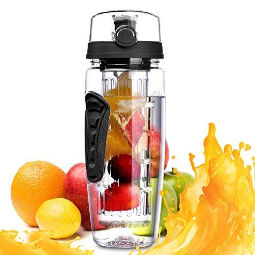 Paciffico 2in 1Fruit-Ei Wasser Flasche mit der Zeit Markiert Hilft Sie Feuchtigkeit Sport Flasche, Große Fusion Flasche 900ml/1L mit Flip Top auslaufsichere Deckel, Schwarz, Schwarz -