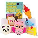 Squishies Mix-Megaset (6 Stück) von Purple Ladybug Novelty | Antistress Spielzeug / Stofftiere | 4 x Squishy mit Schlüsselanhänger | Geschenkbox, Aufkleber und Scratch-Papier gratis dazu