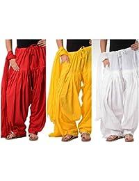Noor Enterprises Set Of 3 Semi-Patiala Salwar With Dupatta Handmade Salwar Punjabi Traditional Look Multi-color...