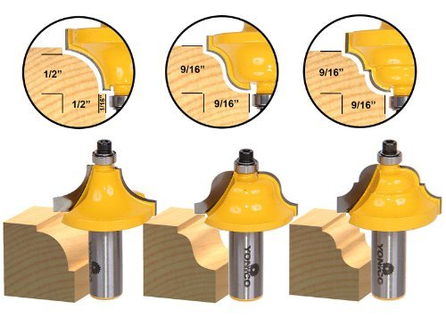 Yonico 13322 3 Bit Edge Molding Router Bit Set with Large Designer 1/2-Inch Shank by Yonico - Molding Router Bit Set