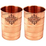 IndianArtVilla Copper Glass Tumbler, Serveware & Tableware (300 ml Each, Set Of 2)