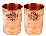 #9: IndianArtVilla Pure Copper Glass Tumbler, Set of 2, 300 ML for Storage and Drinking Purpose