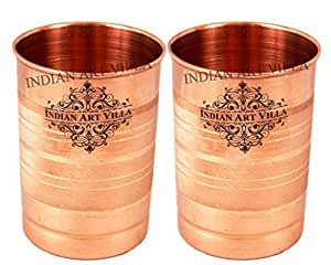 IndianArtVilla Copper Glass Tumbler, Drinkware, 300 ML Each, Set of 2 Glass