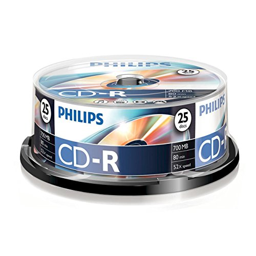 Philips CD-R Rohlinge (700 MB Data/ 80 Minuten, 52x High Speed Aufnahme, 25er Spindel)