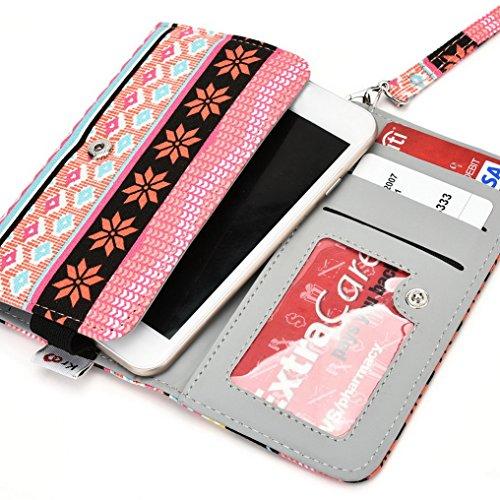 Kroo Téléphone portable Dragonne de transport étui avec porte-cartes pour Samsung Galaxy Grand Prime Duos TV Multicolore - bleu Multicolore - rose