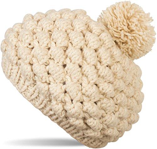 styleBREAKER Grobstrick Bommelmütze mit Noppenstrick Muster, Strickmütze, Mütze mit Bommel, Damen 04024126, Farbe::Beige