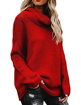 Vosujotis Las Mujeres De Cuello Alto Sweatershirts Pullover Loose Jersey De Punto