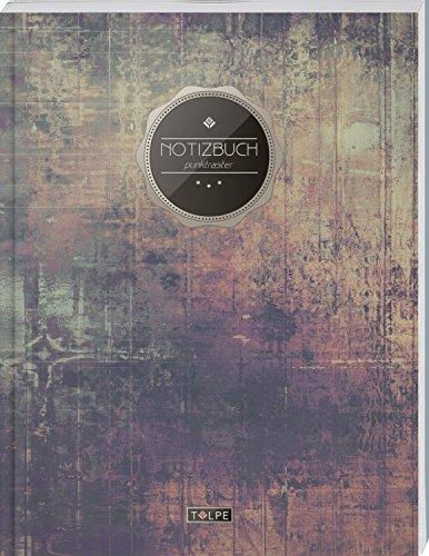 """TULPE Punktraster Notizbuch A4 """"C118 Schlichte Wand"""" (140+ Seiten, Vintage Softcover, Punktkariertes Papier - Bullet Journal, Dickes Notizheft, ... Gepunktete Seiten, Dot Grid Notebook)"""