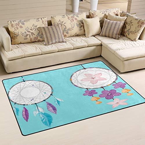 XiangHeFu - Alfombra para salón, Comedor, Dormitorio, 2 atrapasueños Decorativos, diseño de Flores, 5,08 x 2,54 cm, Antideslizante, Image 323, 60x39 Inches