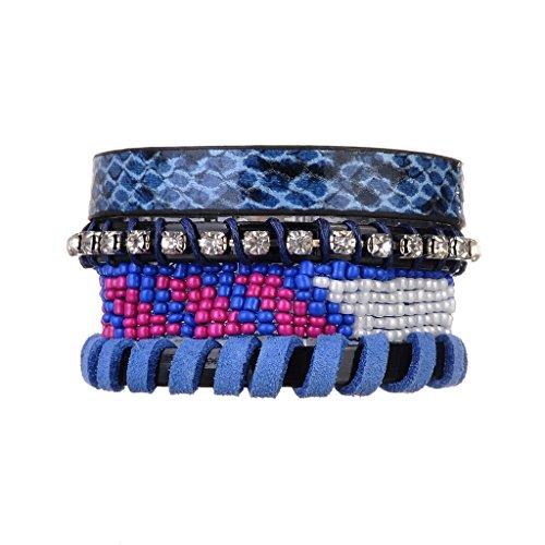 Jiayiqi Retro Fille Tresse Bracelet Perles Bracelet Wrap En Cuir No.4