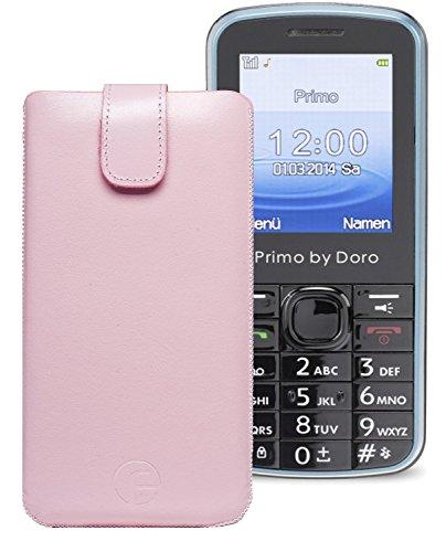 Original Favory ® Etui Tasche für / Primo 305 by Doro / Leder Etui Handytasche Ledertasche Schutzhülle Case Hülle *Lasche mit Rückzugfunktion* In Rosa