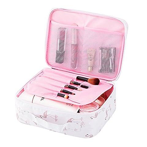 Yiuswoy Kulturbeutel Damen Kosmetiktasche Wasserdicht Waschtasche Makeup Handtasche für Reise, Outdoor und Camping - Flamingo (Mädchen Bad-accessoires)