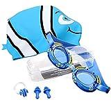 StillCool Gafas de Natación para Niños Silicona, a prueba de agua, antivaho y anti-UV Con sombreros, clips para la nariz, tapones para los oídos(Edad 4-12años) (azul)
