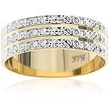 Kareco 9 ct 2 Colour Gold 6 mm Light Flat Diamond Cut Wedding Ring