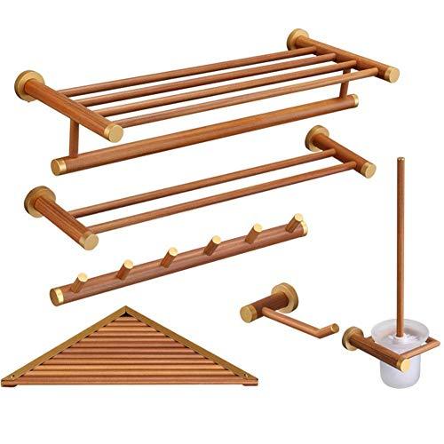 MEOZ Einfache Haushalts-Aufbewahrungshalter Bad Regale Rack Wandhalterung Lagerung von Atmungsaktivem Nicht Verblassen Montage Langlebiges Holz, 6-Teiliges Set