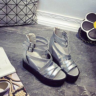 LvYuan Sandalen-Kleid Lässig-PU-Flacher Absatz-Komfort-Mehrfarbig Black