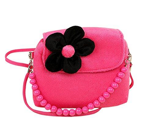 Fablcrew Geldbeutel, Handtasche, süße Prinzessinnen-Minitasche mit Plüschblume und Perlen für kleine Mädchen