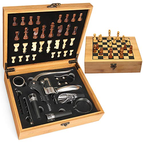 Yobansa Bambus-Box Weinzubehör Geschenkset, Weinöffner Set,einen Weinkorkenzieher, einen Weinverschluss, Weinausgießer und EIN Holzschachset (0D)