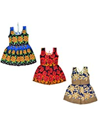 Sathiyas Girls Gathered Cotton Gowns (Pack of 3) (asvinf50)