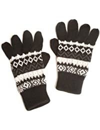 Mens Fairisle Thermal Knitted Fashion Gloves with Ribbed Cuffs in Various Colours