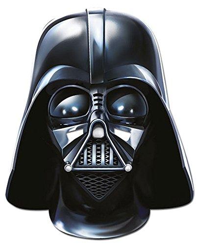 Star Wars - Darth Vader Papp Maske, aus hochwertigem Glanzkarton mit Augenlöchern, Gummiband - Größe ca. 30x20 cm (Darth Vader Kostüme Erwachsene)