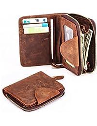 Two Pockets Men's Genuine Crazy Horse Leather Tri-Fold Short Zip-Around Bifold Wallet By Dancehand
