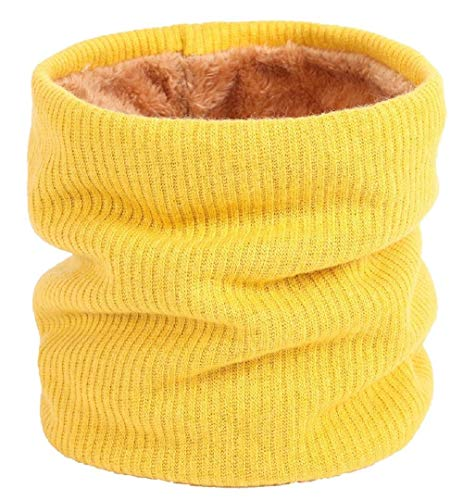 kt Halswärmer Winter Doppelschicht Fleece gefütterte Infinity Schal Circle Schal (Gelb) ()