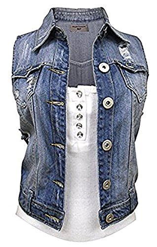 SS7 Women's Denim Stonewash Gilet, Blue Sizes 8 To 16