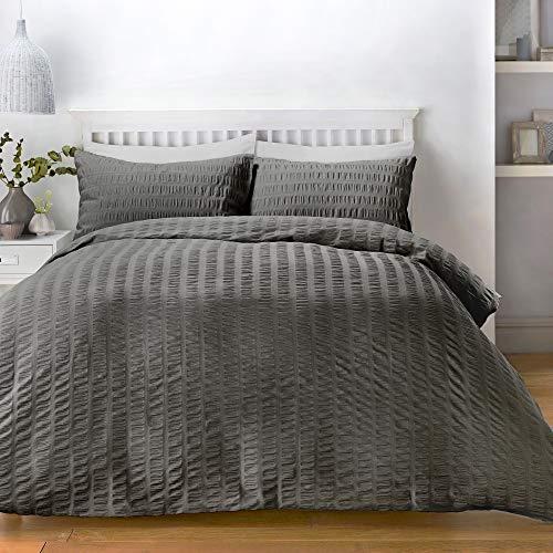 Serene Seersucker Parure de lit, 52% Polyester, 48% Coton, Charbon, Double