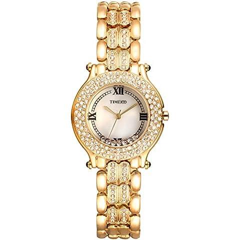 Time100 W50324L.01A de diamantes de moda Retro de la cáscara de acero de cuarzo reloj de las mujeres de la correa de la