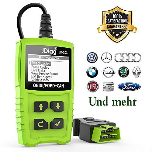 OBD2 Diagnosegerät, Auto OBD II Code Scanner Fahrzeug Fehlercodeleser arbeitet an Allen Autos mit OBD2 / EOBD/CAN-Modi und 16-Pin OBDII-Schnittstelle für Lesen und Löschen Fehlercode/Batterie Test