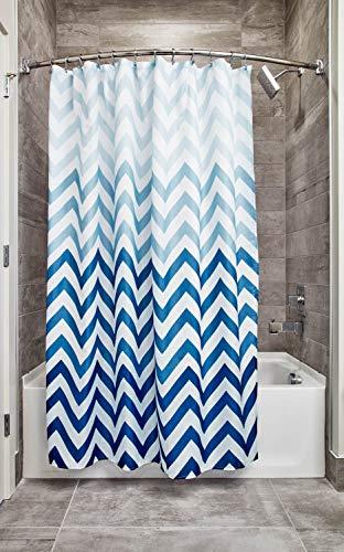 n Textil Duschvorhang | 183 cm x 183 cm Vorhang aus Stoff mit Zickzackmuster | pflegeleichte Duschabtrennung für Badewanne und Duschwanne | Polyester blau ()