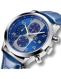 Reloj de pulsera para hombre con cronógrafo analógico de cuarzo, fecha, resistente al agua