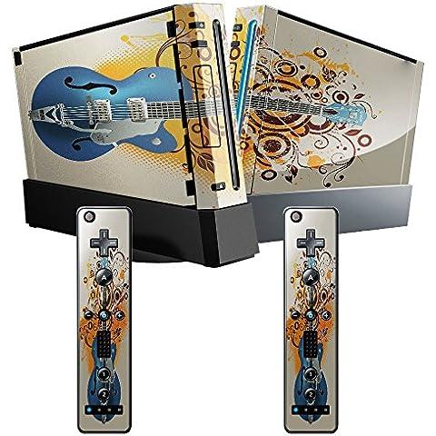 Mia Musica 10001, Chitarra, Skin Autoadesivo Sticker Adesivi Pelle Cover Decal Set con Disegno Strutturato con Nintendo Wii