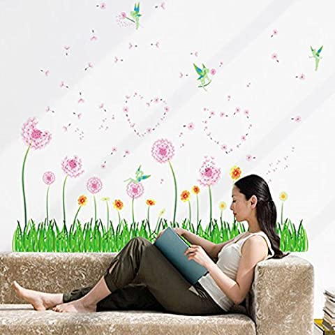 orderin Wall Decal Mural Little Grass and Beautiful Flowers Removable Wall Stickers for glass door Cup Tarjeta Decor By orderin