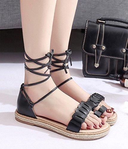 Chaussures d'été autour de talons bas sangles croisées ensembles de mode orteil sandales romaines Black