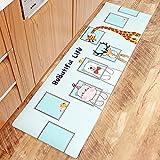 AZUO3 Blöcke Zum Verkauf Cartoon Japanischen Stil Haushalts Bekleidung Resistente Rutschfeste Fußpolster Haushalt Wasserdicht Öl Proof Streifen Leder Küche Bodenmatte,H,M