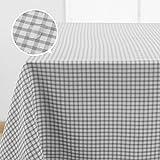 Deconovo Tischdecke Wasserabweisend Tischdecke Lotuseffekt Tischwäsche Garten 137x200 cm Grau