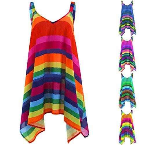 Women T-Shirts OverDose Plus Size Stripe Pullover Sleeveless Irregular Vest Tank Shirt Tops Blouse