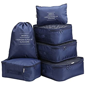 Langria 6 Sets Packing Cubes Foldable Travel Organiser Luggage Compression Pouches Suitcase Bag 3 Mesh Packing Cubes +1 X Packing Cube+1 X Drawstring Bag+1 X Flat Pouch (Navy Blue) 1