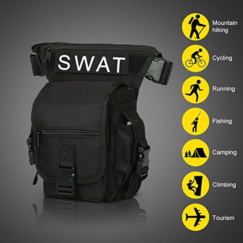 Eshow borsa da gamba marsupio cosciale da uomo di tela trekking escursioni sportivo soft air nero Nero 03