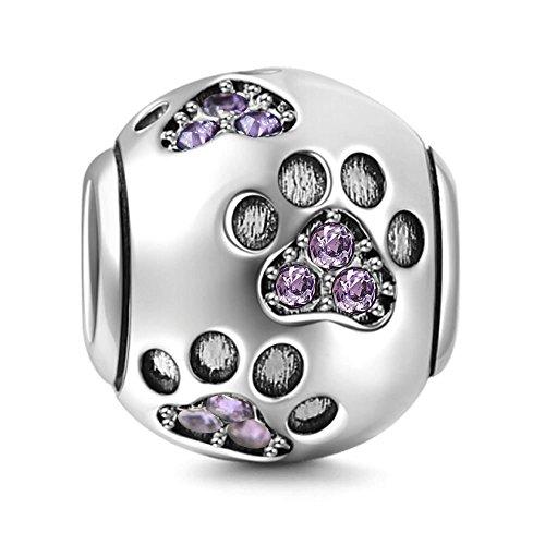 Dog Paw Charm 925Sterling Silber Fußabdruck Charme Animal Charm Geburtstag Charme Pet Charm für Pandora Armband violett