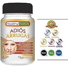 ADIÓS ARRUGAS - Colágeno Puro Hidrolizado de Nueva Generación + Ácido Hialurónico asimilado + Coenzima Q10 pura + Ácido Alfa Lipoico + Vitamina C soluble ...