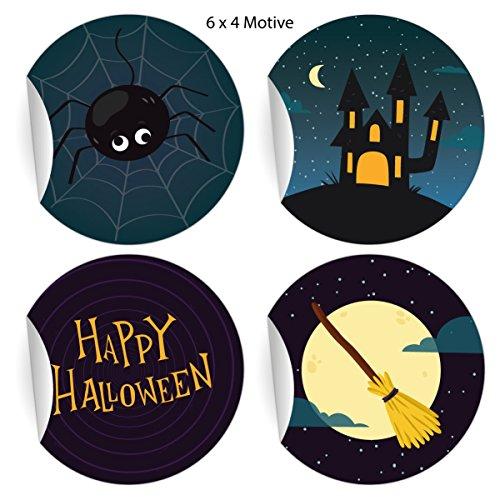 24 coole Halloween Aufkleber zum Gruseln mit Spinne und Hexen Besen: Happy Halloween, blau, MATTE universal Papieraufkleber auch für Geschenke, Etiketten für Tischdeko, Pakete, Briefe und mehr (ø 45mm