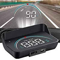 ‏‪HUD Display, lesgos Vehicle Speedometer Head Up Display with Hood, Speed Warning HUD Projector for Cars and Trucks with OBD II or EUOBD‬‏